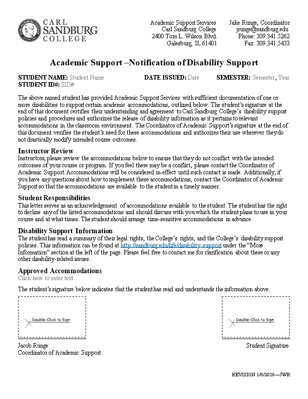 Academic Support Notification of Disability Support