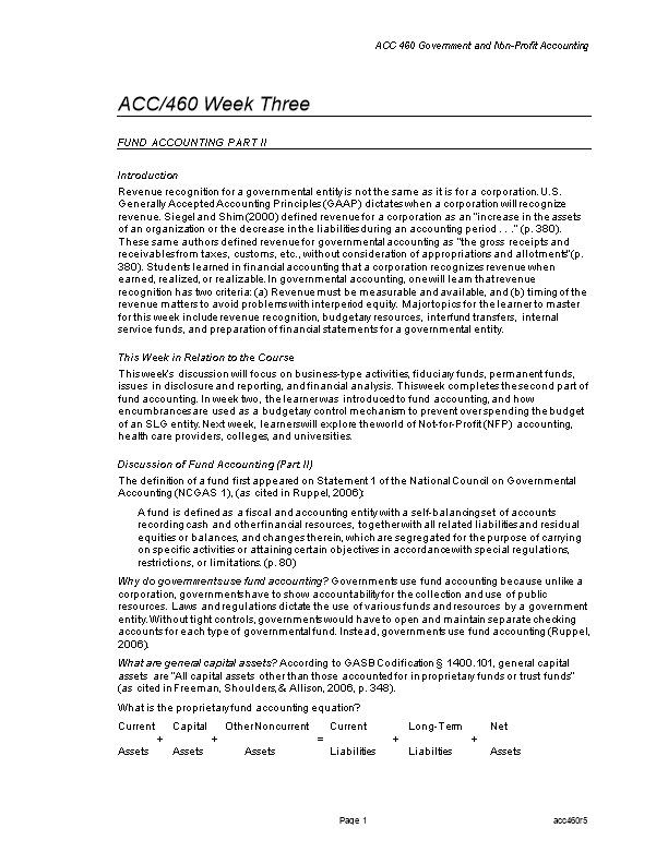 ACC 460 Government and Non-Profit Accounting