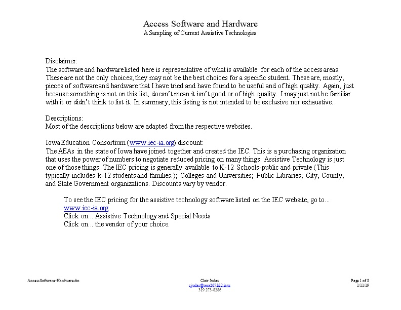 Access Software and Hardware