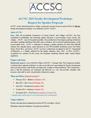 ACCSC 2015 Faculty Development Workshops