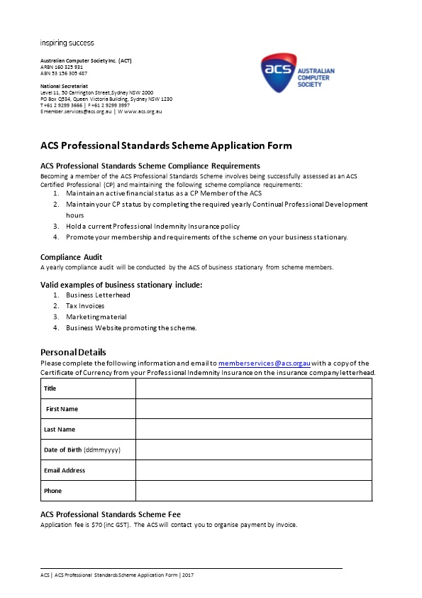 ACS Professional Standards Scheme Application Form