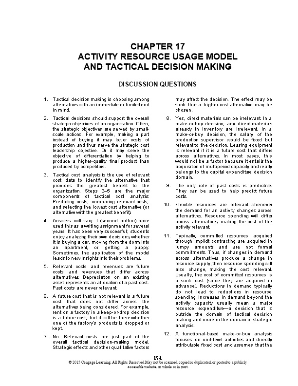 Activity Resource Usage Modeland Tactical Decision Making
