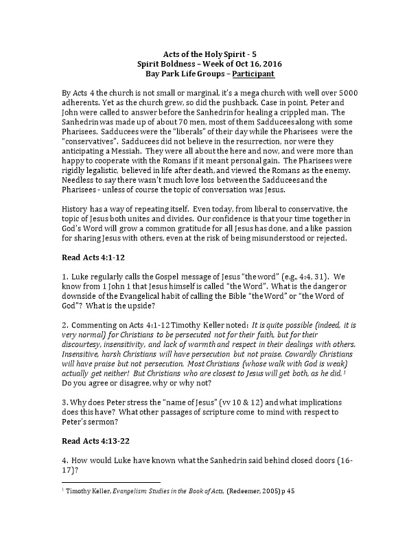 Acts of the Holy Spirit - 5