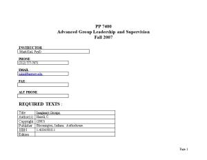 Advanced Group Leadership and Supervision