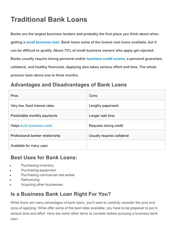 Advantages and Disadvantages of Bank Loans