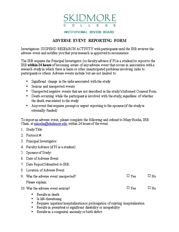 Adverse Event Reporting Form