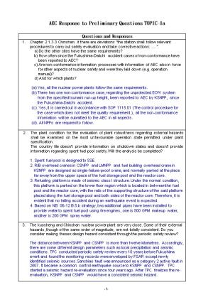 AEC Response to Preliminary Questions TOPIC-1A
