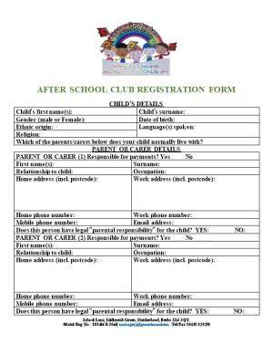 After School Club Registration Form
