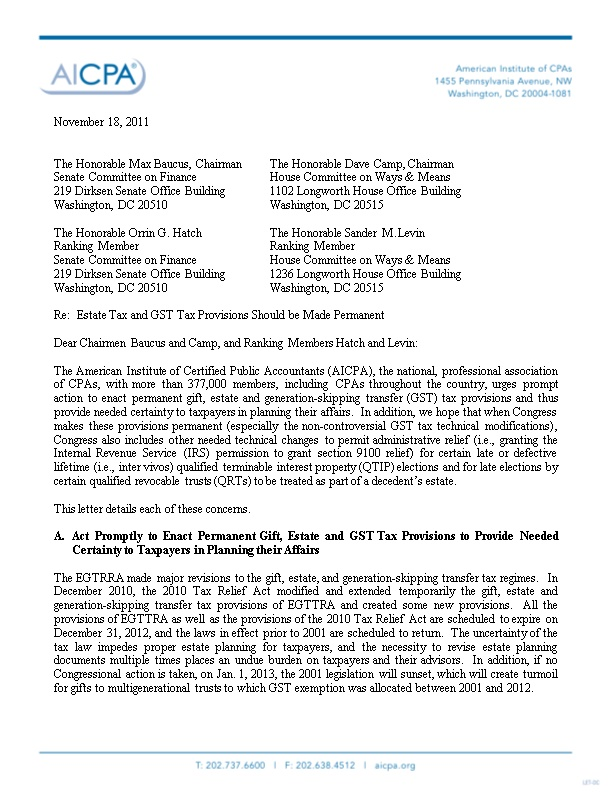 AICPA Letter to Congress on Estate Tax, Making Permanent GST Modifications, and QTIP Election