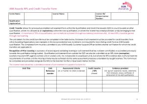 AIM Awards RPL and Credit Transfer Form