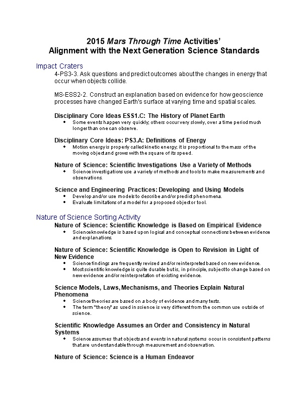 Alignment with the Next Generation Science Standards