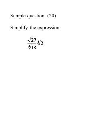 All Answers Should Be Given in Simplified Form, Reduced Terms for Fractions, Rationalize