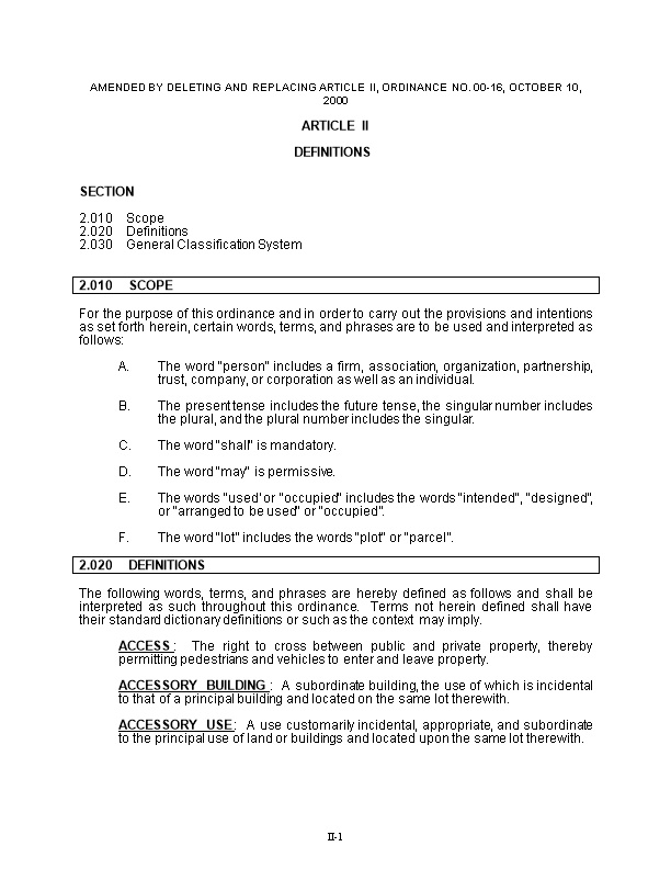 AMENDED by DELETING and REPLACING ARTICLE Ii, ORDINANCE NO. 00-16, October 10, 2000