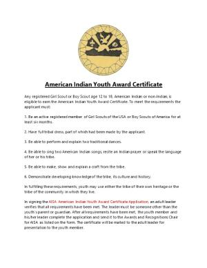 American Indian Youth Award Certificate