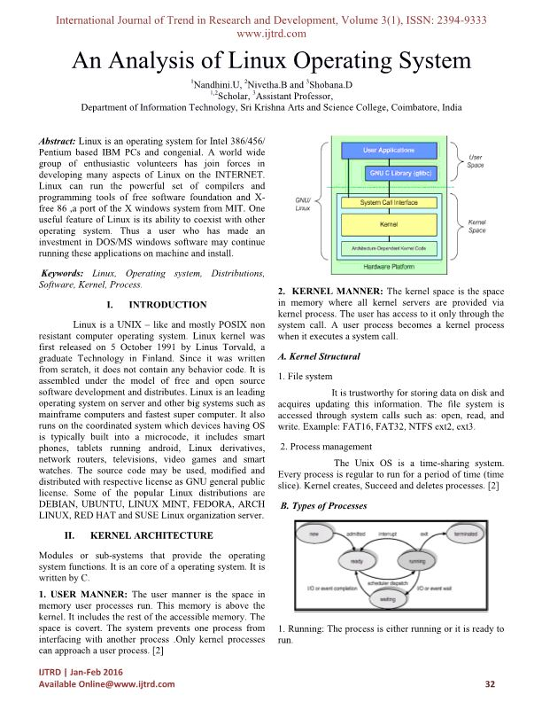 An Analysis of Linux Operating System