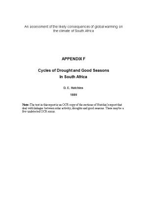 An Assessment of the Likely Consequences of Global Warming on the Climate of South Africa