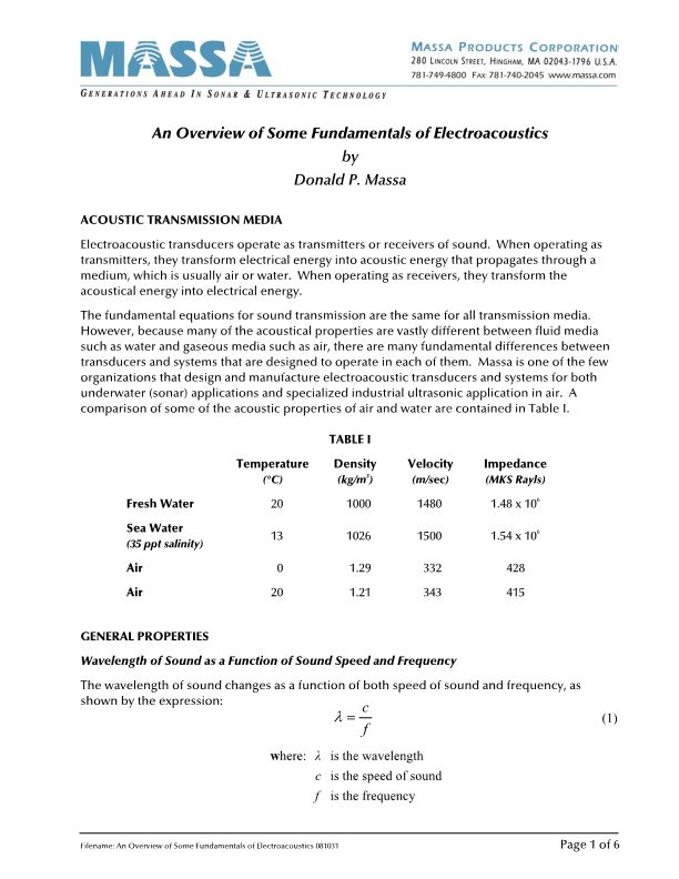 An Overview of Some Fundamentals of Electroacoustics
