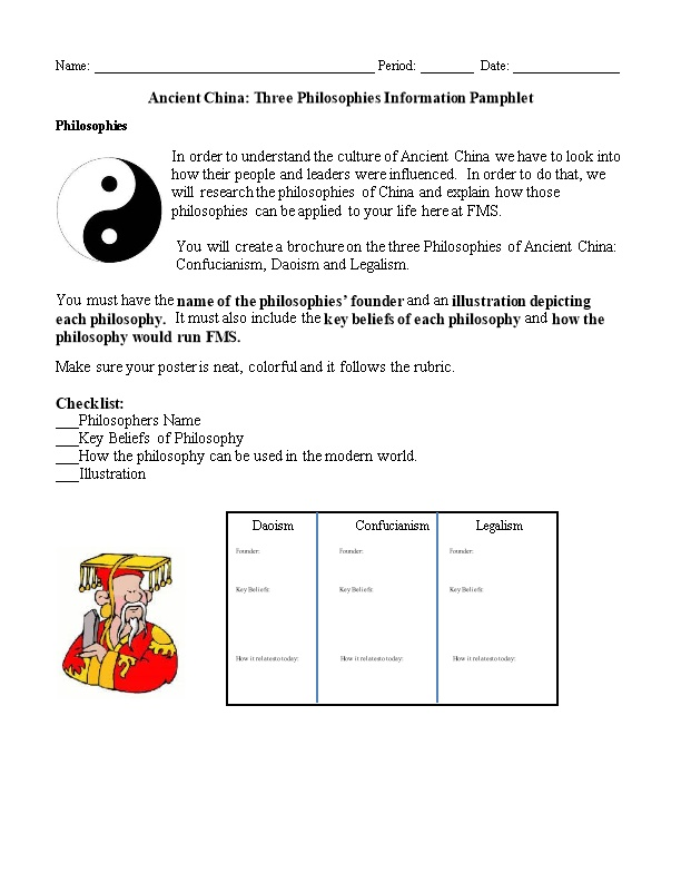 Ancient China: Three Philosophies Information Pamphlet
