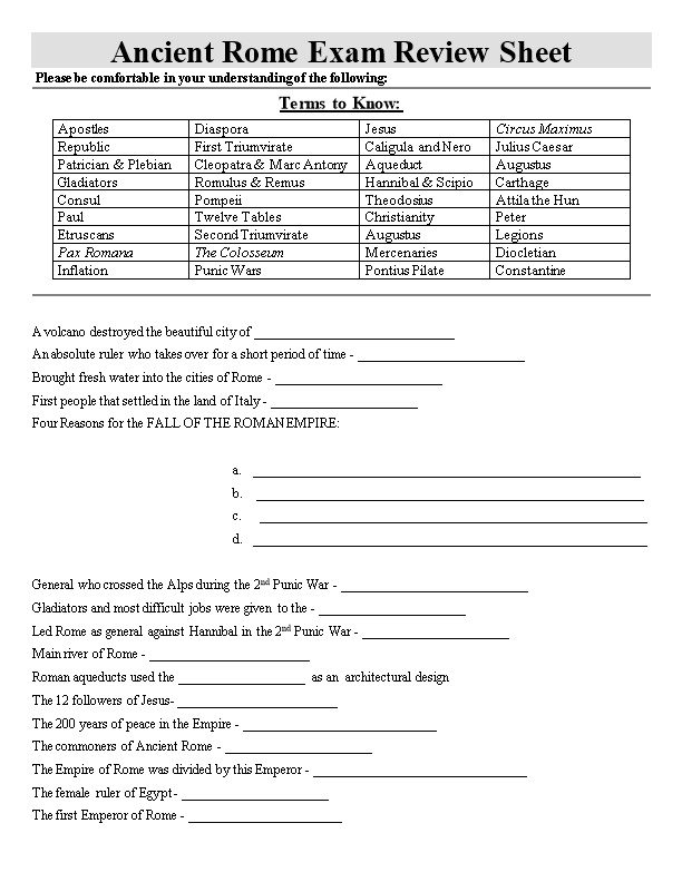 Ancient Rome Exam Review Sheet