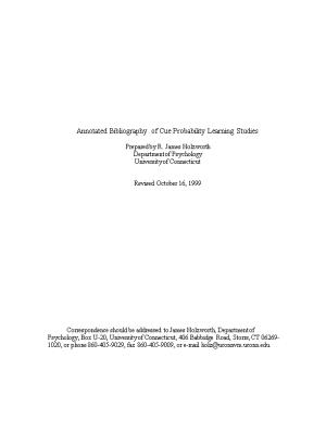 Annotated Bibliography of Cue Probability Learning Studies