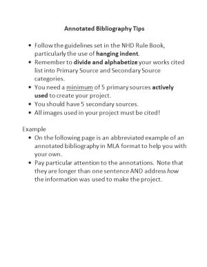 Annotated Bibliography Tips