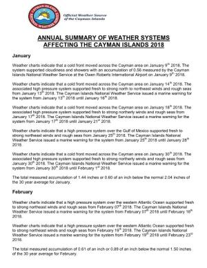 Annual Summary of Weather Systems Affecting the Cayman Islands 2018