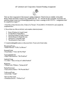 AP Literature and Composition Summer Reading Assignment