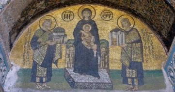 Constantine the Great presents the city Constantinople and Justinian the Great presents Hagia Sophia to the Virgin mosaic probably 10th Century Southwestern Entrance Hagia Sophia photo Steven Zucker