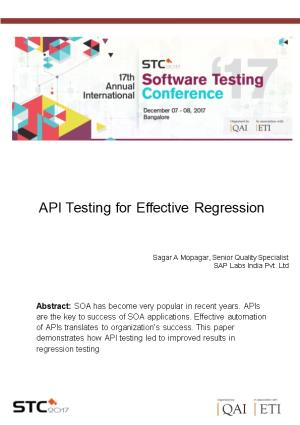API Testing for Effective Regression