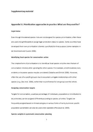 Appendix S1. Prioritization Approaches in Practice: What Are They Used For?