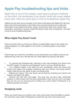 Apple Pay Troubleshooting Tips and Tricks