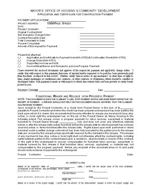 Application and Certificate for Construction Payment