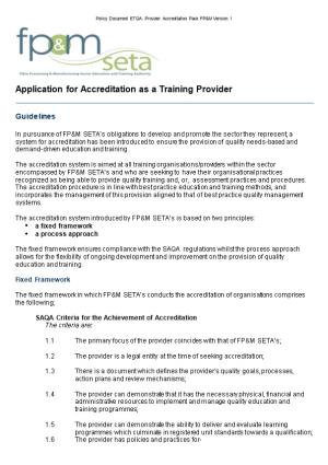 Application for Accreditation As a Training Provider