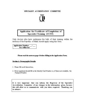 Application for Certificate of Completion of Specialist Training (CCST)