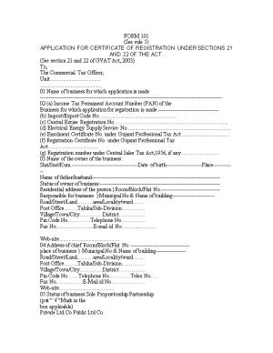 Application for Certificate of Registration Under Sections 21 and 22 of the Act