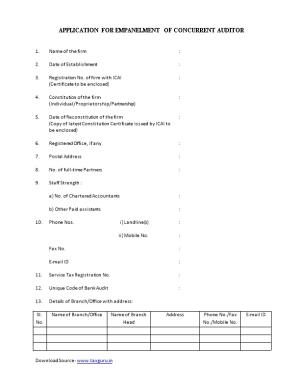 Application for Empanelment of Concurrent Auditor