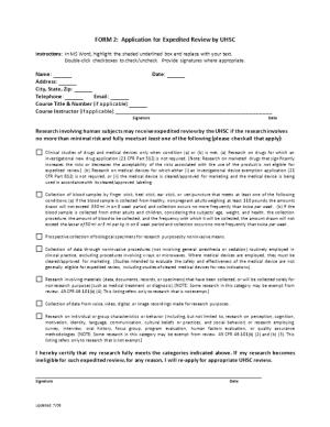 Application for Expedited Review by the UHSC