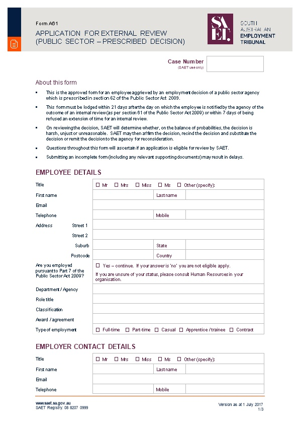 Application for External Review (Public Sector Prescribed Decision)