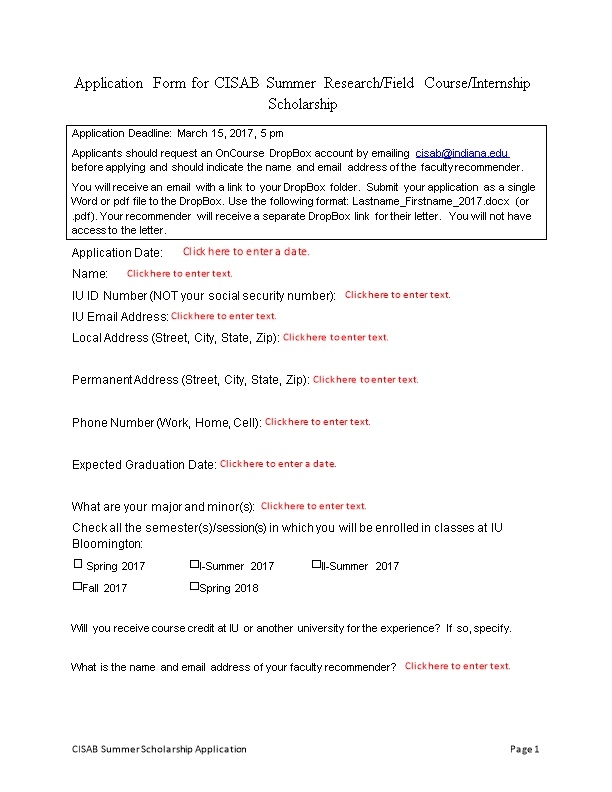 Application Form for CISAB Summer Research/Field Course/Internship Scholarship