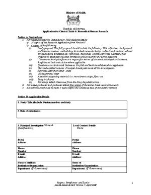Application Form for Health Research