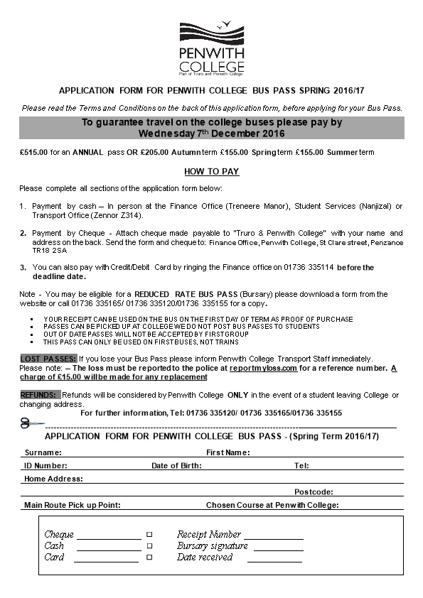 Application Form for Penwith College Bus Pass Spring 2016/17