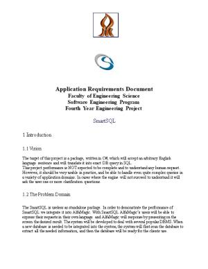 Application Requirements Document