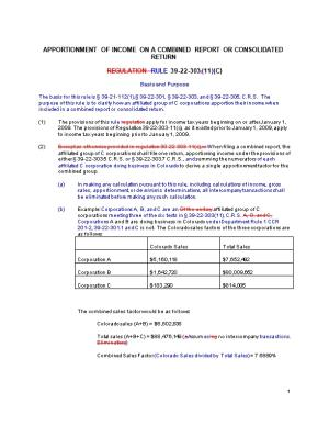 Apportionment of Income on a Combined Report Or Consolidated Return