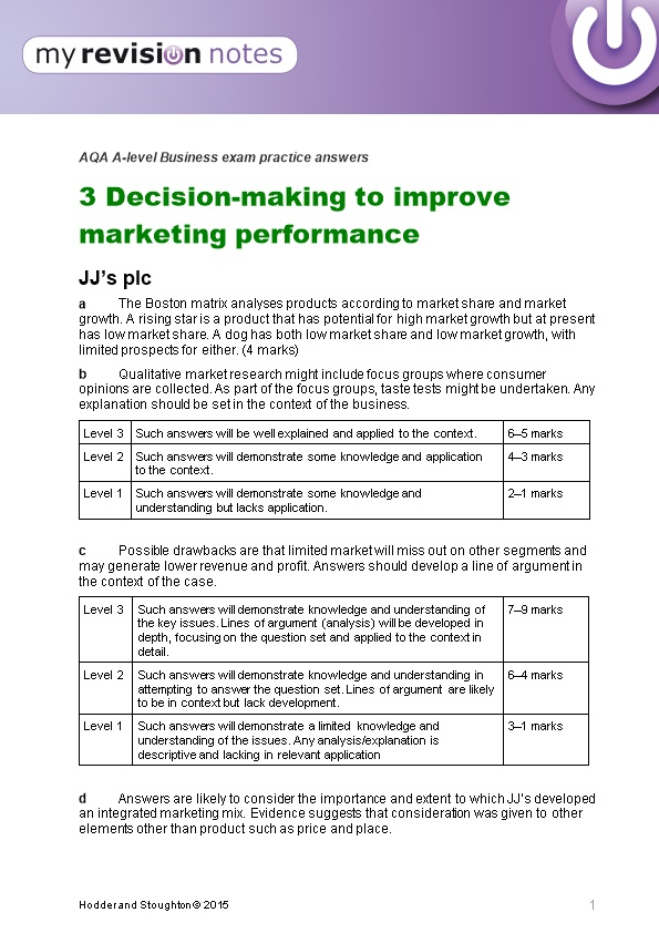 AQA A-Level Business Exam Practice Answers