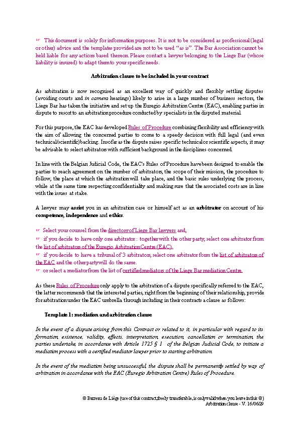 Arbitration Clause to Be Included in Your Contract