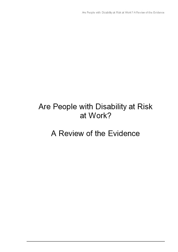 Are People with Disability at Risk at Work? a Review of the Evidence