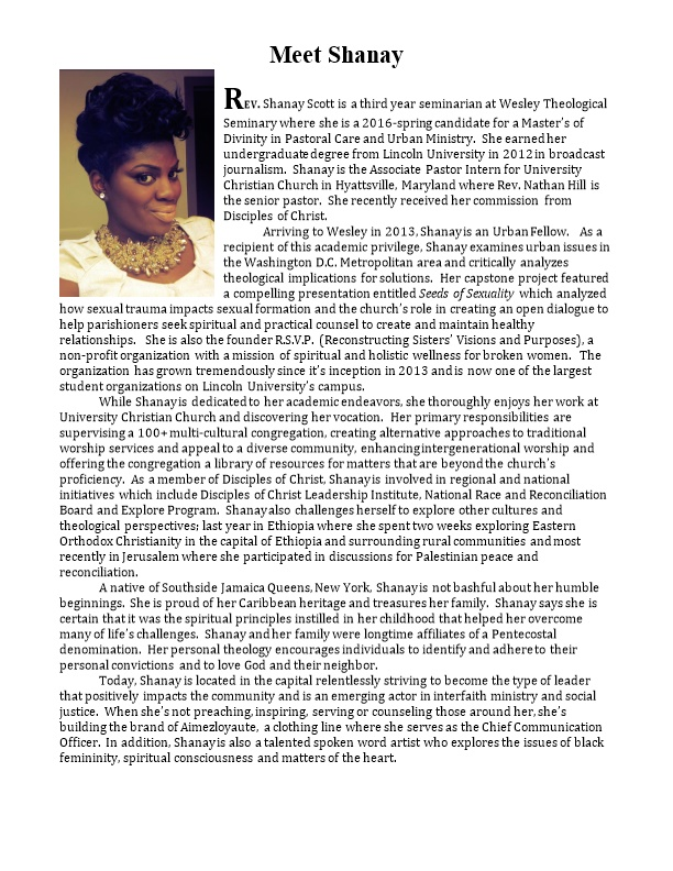 Arriving to Wesley in 2013, Shanay Is an Urban Fellow. As a Recipient of This Academic