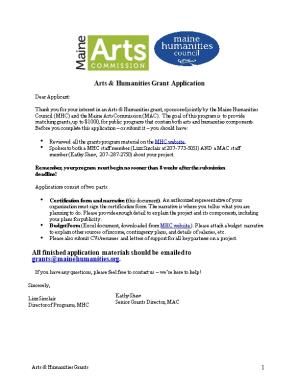 Arts & Humanities Grant Application