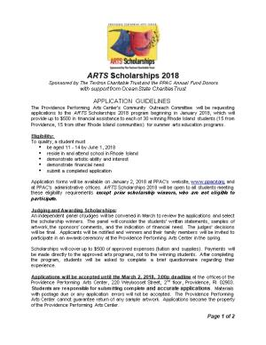 ARTS Scholarships 2018