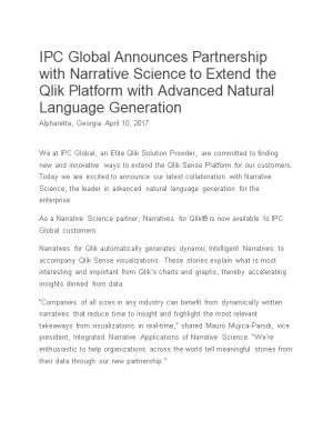 As a Narrative Science Partner, Narratives for Qlik Is Now Available to IPC Global Customers